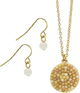 Rosemarie Collections Women's Simple Beaded Circle Pendant Necklace Jewelry Gift Set