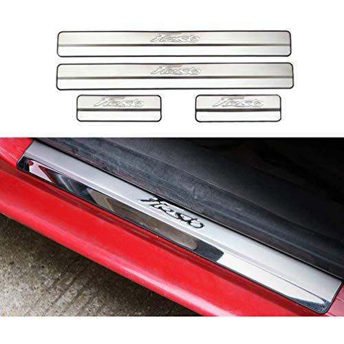 HUAQIEMI 4Pcs Auto Acciaio Inox Battitacco, per Ford New Fiesta 2009-2019 Door Sill Scuff Pedale Protettore Decorazione delle Batticalcagno L'usura Previene Sticker Accessori