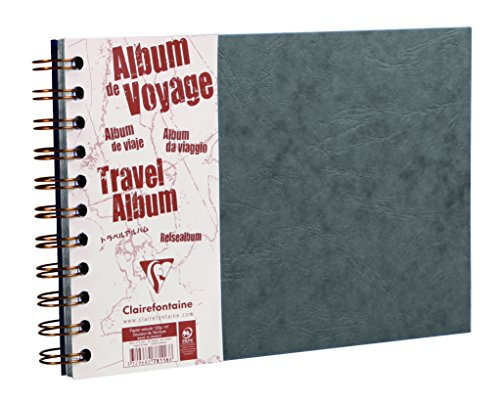 Clairefontaine 781065C Reisealbum Agebag, DIN A4, 21 x 29,7 cm, 40 Blatt, liniert und blanko, Doppelspiralbindung, praktsich und belastbar, 1 Stück, grau