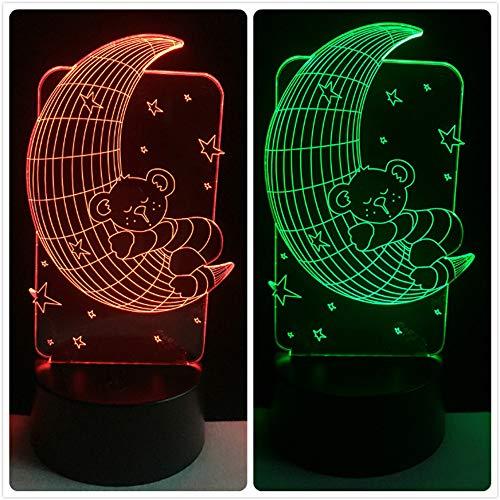Cartoon Illusion Nachtlicht Für Kinder, 4D Visual Cartoon Nachtlichter Kindergeschenk Led Schreibtisch Tischlampe Für Schlafzimmer Geburtstagsgeschenk Weihnachten Kinder Vorhanden