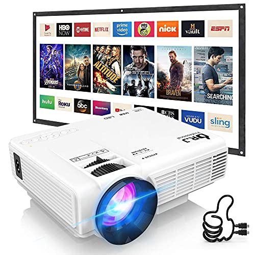 """DRJ Professional 7500Lumens Mini Projector with 100Inch Projector Screen, Full HD 1080P 170"""" Display Supported, PS4,TV Stick, Smartphone, USB, SD Card Supported, Great for Home Theater Movies"""