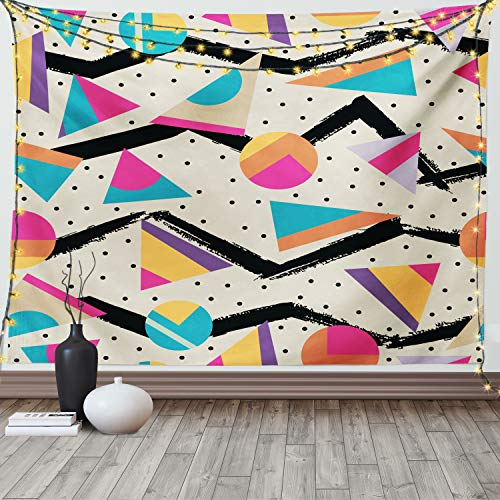 Ambesonne Indie Tapestry, Eighties Memphis Fashion Style Geometric Abstract Colorful Design with Dots Funky, Wide Wall Hanging for Bedroom Living Room Dorm, 60' X 40', Cream Pink