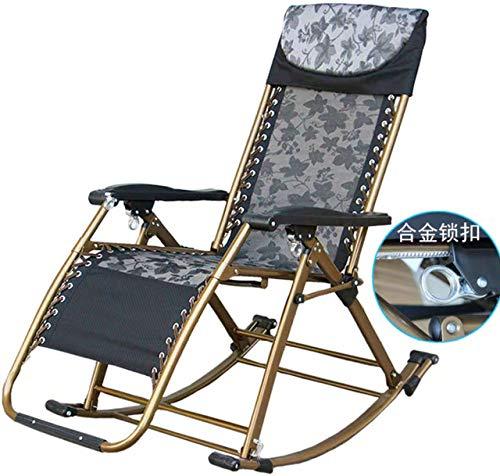 HJFGSAK Mecedora Silla de Ocio PlegableRelax Mecedora para Oficina para Adultos balcón al Aire Libre sillón reclinable para Siesta, Negro