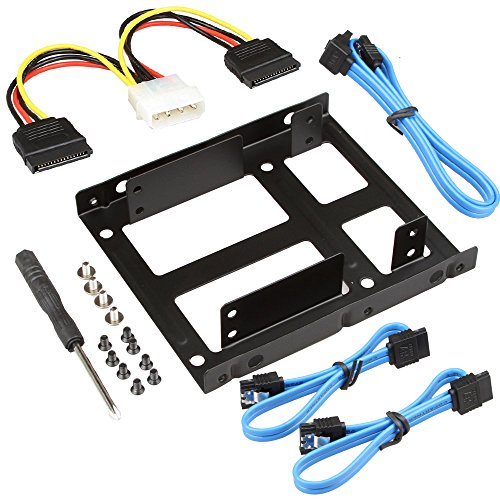 SHARPALIN 2X 2.5In SSD to 3.5In Internal Hard Disk Drive Mounting Kit Bracket with 3X SATA Data Cable and Power Cable (2.5in to 3.5in Mounting Kit)