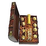 MostroMania Scrigno del Tesoro con Bottiglia di Spumante e Cioccolatini Ferrero Rocher, Scaglie d'Oro 23 Carati, Idea Regalo Romantica per Innamorati