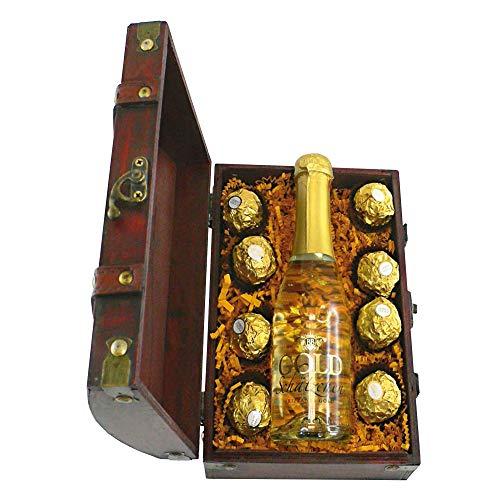 Monsterzeug Schatztruhe mit Sekt und Schokolade, Goldtruhe mit Piccolo und Süßem, Edle Holztruhe gefüllt mit Goldflocken, Sektflasche und Süßigkeiten, Geschenkset 12 Schokotaler und Schaumwein