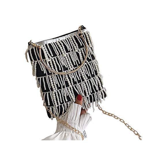 Cadena Perla con flecos Mango de metal Pu Casual para mujer Bolso bandolera Bandolera bandolera para mujeres Bolsos de solapa, negro