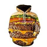 WAPDRY Realistico 3D Creativo Gourmet Fast Food Hamburger Patatine Fritte Pizza Stampa Felpa, Tasca Frontale Ampia vestibilità Fresca con Cappuccio, Abiti Autunno Inverno Outwear-G_3XL