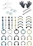 Milacolato 40 UNIDS Kit de Perforación Profesional 16G Piercing del Vientre de Acero Inoxidable Lengua Tragus Nipple Labio Ceja Oído Nariz Piercing Corporal Joyería