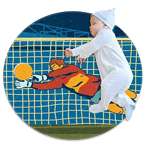 Tapis Rond Gardien De But De Football Tapis De Jeu Antidérapant Tapis Ramper Bébé Impression Créative Tapis Chambre Enfant pour Fille Garçon 100x100cm