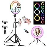 Dzht RGB Ring Lamp Selfie Ring Light con Control Remoto Soporte De Trípode Extensible Luces Led Circulares para Transmisión En Vivo Maquillaje Youtube Video Tiktok-10R-210Rc