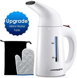 URPOWER Updated 180ml Garment, 7-in-1 Multi-Use Portable Remove Wrinkles, Soften Clothing, Handheld Fabric Steamer with Travel Pouch, Heat-Resistant Glove, White