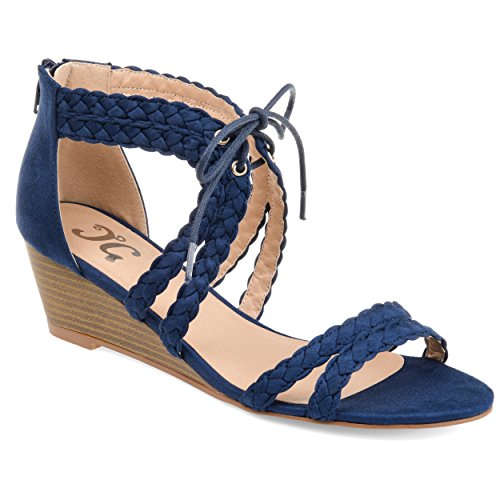 Journee Collection Womens Aubree Wedge Blue, 8 Regular US