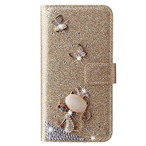 Schutzhülle für Huawei P30, 3D-Glitzer-Edelsteine Schmetterling Sparkle Bling Cover Stoßdämpfung Flip PU Leder Schutzhülle TPU Bumper mit Magnetständer Kartenfächer für Mädchen Frauen Golden