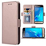 Compatible with Samsung Galaxy J1 2016 J120 Folio Flip Wallet Case,PU Leather Credit Card Holder Slots Heavy Duty Full Body Protection Kickstand Protective Phone Cover for Glaxay J1 2016 Rose Gold