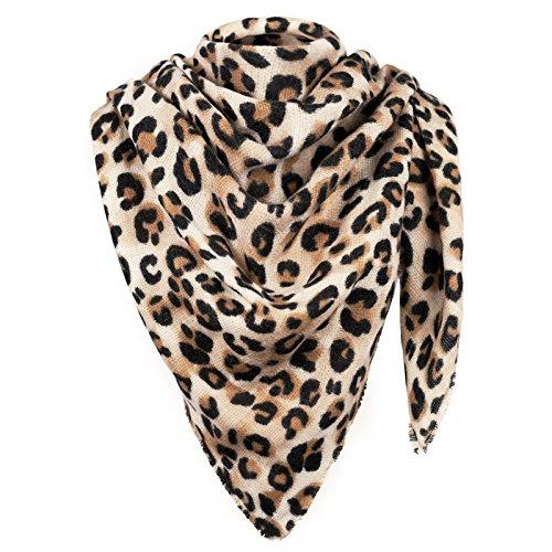 Damen XXL Winter-Schal im Leopardenmuster übergroßer Deckenschal Herbst-Schal Oversized Schal