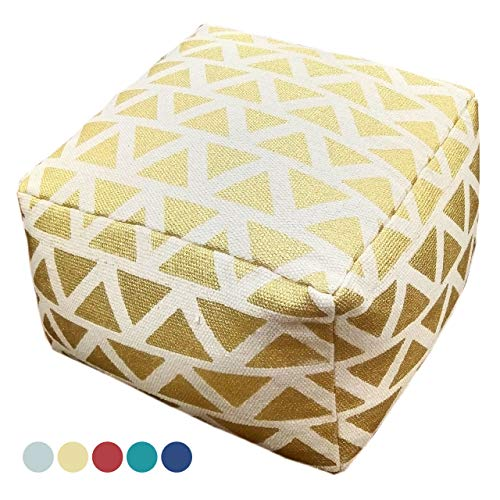 Soma Ontwerp Pouf Kelim Style vloerkussen zitpoef Maja 55x37x55 cm handbedrukt in 5 kleuren (BxHxL) 55 x 37 x 55 cm metallic goud