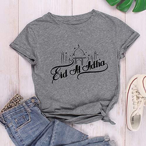 ZWH Comercio transfronterizo Amazon Deseo de Ebay en el Castillo de la impresión de algodón Ocasional de la Personalidad Alrededor del Cuello de la Camiseta de Europa y América Las Mujeres