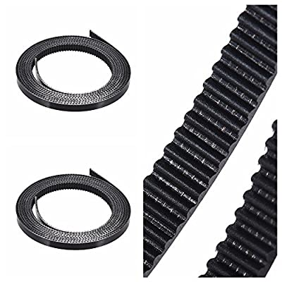 Aibecy 2 pieces 2 mm pitch, 6 mm rubber timing belt, rubber belt, pulley transmission belt with steel wire for RepRap Prusa i3 3D printer, CNC timing belt, PU material width