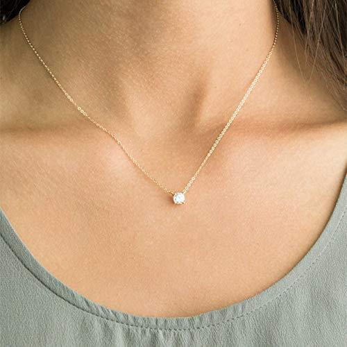 HED Glänzende Unsichtbarer Transparenter Dünne Linie Einfache Halskette Damenschmuck (Metal Color : NO1 Gold)