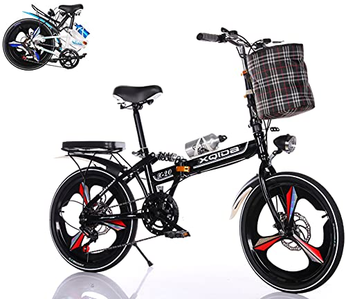 Bicicleta Plegable de 20 Pulgadas,3 Ruedas de Corte Antideslizante Neumáticos Bicicleta Urbana Plegable Frenos de Doble Disco Adecuado para Adultos Mujeres y Adolescentes Foldable Bicycle/Negro