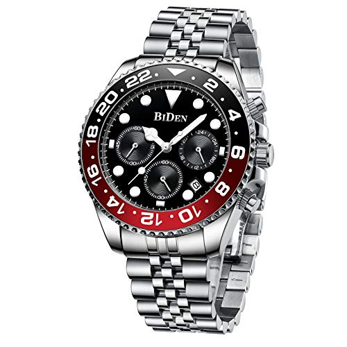 Relojes Hombre Cuarzo Cronógrafo Lmpermeable Relojes Fecha Business Casual Acero Inoxidable de Reloj de Pulsera Negro