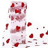 BHGT 15cm x 9 Meter Tüll Rolle mit roten Herzen Tüllband
