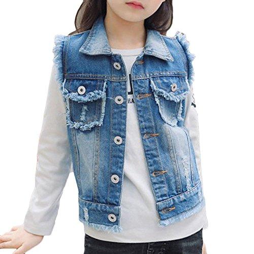 Mädchen Jacket Gewaschen Jeansjacke Beiläufig Loch Destroyed Ripped Cowboy Jeansweste Denim Slim Fit Jeans Weste (140 for Height 128-135cm)