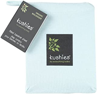 Kushies Organic Jersey Bassinet Fitted Sheet, Light Blue