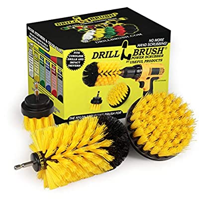 Drill Brush Power Scrubber by Useful Products - Drillbrush Yellow Bathroom Accessories Cleaning Set - Drill Brush Set for Cleaning Tile and Grout - Shower Cleaning Supplies - Drillbrush Shower Cleaner