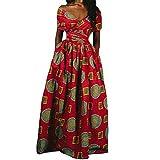 Reasoncool Damen Kleider Elegante Partykleid Cocktailkleid Minikleid Frauen Afrikanisches Drucken Langes Kleid ärmelloses Dashiki Party Kleid(XL,rot)