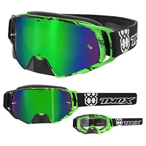 TWO-X Rocket Crossbrille Crush schwarz grün Glas verspiegelt grün MX Brille Nasenschutz Motocross Enduro Spiegelglas Motorradbrille Anti Scratch MX Schutzbrille Nose Guard