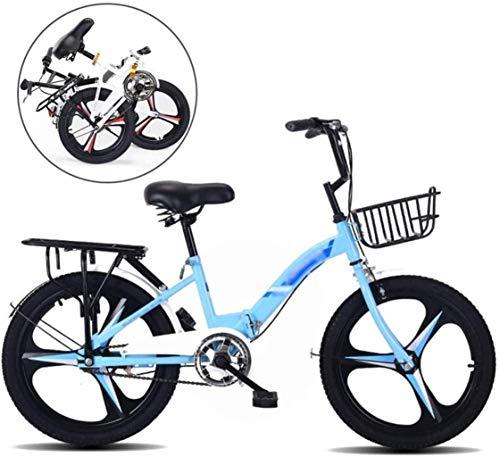 Jugend-Fahrrad Fahrräder, faltbarer Kinder-Fahrrad MTB 18 Zoll 20 Zoll Fahrrad for Jungen und Mädchen, Kinder Folding Fahrrad, Sport und Freizeit Fahrrad Bikes 5-25 (Farbe: Blau, Größe: 20 '') yqaae