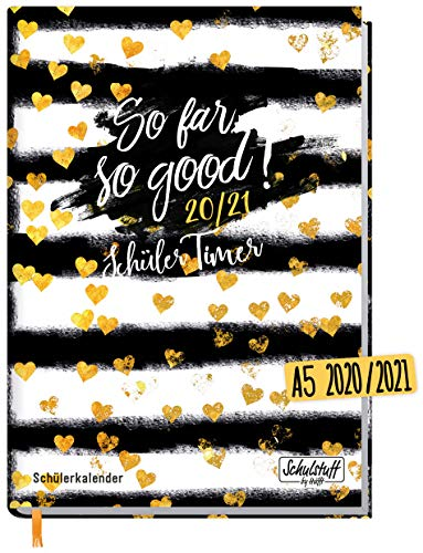 Schulstuff Schülertimer 2020/2021 A5 [Heart of Gold] Schülerkalender, Schüler-Tagebuch, Schülerplaner - organisiert durchs neue Schuljahr | nachhaltig & klimaneutral