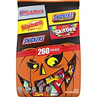 260-Piece Mars Mixed Variety Bulk Halloween Candy, Snickers, Skittles, Starburst & 3 Musketeers, 80.36 Ounce