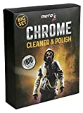 MotoFam Chrome Polish Chrome Cleaner for Cars Metal Cleaner Rust Remover for Metal Exhaust Cleaner Chrome Wheels Cleaner Radiator Rust Cleaner Foamy Steel Wool Sponge Corrosion Removal 200g