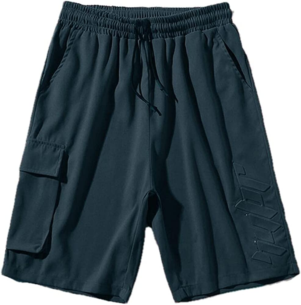 NP Men's Tooling Pocket Shorts with The Same Color Embossed Design Five-Point Pants for Men