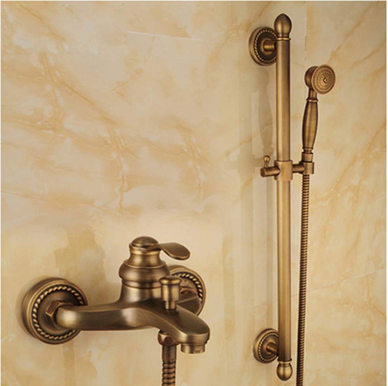 All Copper Antique Rain Shower Set European Retro Simple Bathroom Cylinder Faucet Nozzle Can Lift Shower Rod