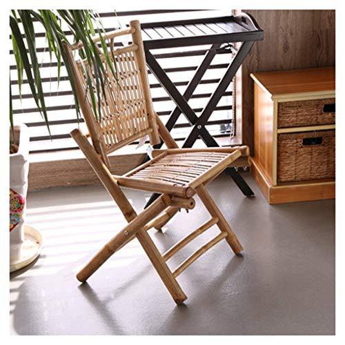Silla Plegable de Bambú Silla de Ocio Gran Capacidad de Carga Ahorro de Espacio Pulido de Esquinas Redondeadas Sillón Reclinable Portátil Saludable y Ecológico