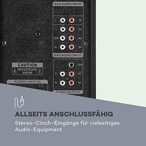 auna Concept 520 5.1 Lautsprechersystem (75 Watt RMS, OneSide Subwoofer, Balanced Sound Concept, Bluetooth, USB-Port, SD-Slot, UKW-Tuner, inkl. Fernbedienung) schwarz