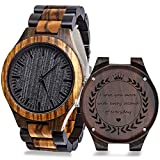 KOSTING Personalized Engraved Men Natural Wood Watches for Husband Boyfriend Sweetheart Wooden Strap Band Customized Stylish Classic Unique Birthday Birthday Anniversary Valentine's Gifts