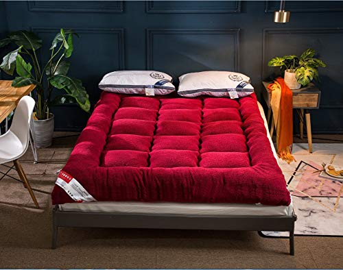 Traditional Japanese Quilting Futon Mattresses, Soft Cashmere Thicken Tatami Mattress Foldable Floor Mat Four Seasons Use-red Queen