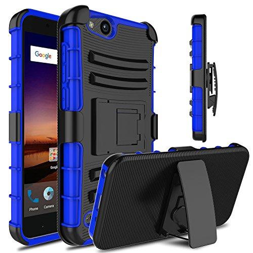 Venoro Compatible with ZTE Tempo X Case, ZTE Blade Vantage Case, Heavy Duty Full Body Protective Case Cover with Kickstand and Belt Swivel Clip Compatible with ZTE Avid 4 (Black/Blue)