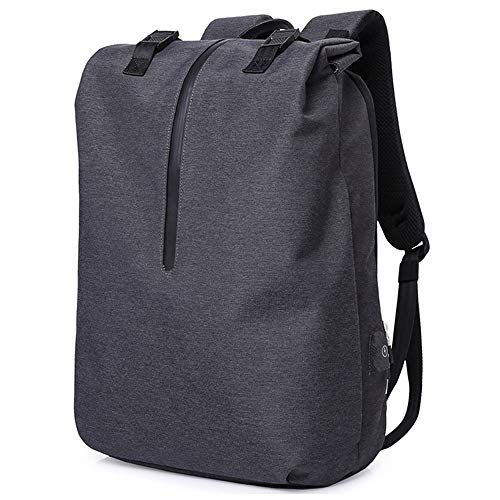 Large Capacity Backpack Roll-Top Laptop Backpack Multipurpose Anti-Thief Water Proof College School Book-Bag Business Backpack with USB Charging Port Fits 15.6' Notebook (Color : Black)