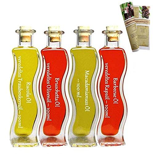 Geschenkset & Probierset   4 x 100ml Öl   Bruschetta Öl - Rucola Öl - Barbecue Öl - Macadamia Öl   mit Rezeptbroschüre