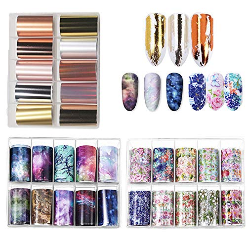 Kalolary 30 Stücke Nail Art Transferfolie, Nail Wraps Transfer Nailart Folie Transfer Nagel Sticker Transferfolie Nägel Nagelschmuck Sticker Design Nagel DIY für Frauen Damen (3 Box / 30 Farbe)