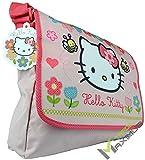 HELLO KITTY Bolso de hombro / bolso bandolera para niña con cierre de velcro / rosa / lavable / perfecto para guardería / preescolar / como bolsa de deporte / escuela primaria / 100% poliéster