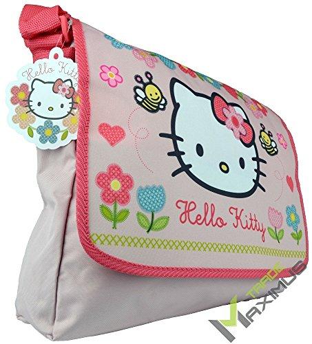 HELLO KITTY Schultertasche / Umhängetasche Kindertasche für Mädchen mit Klettverschluss / rosa / abwischbar / perfekt für Kindergarten, Vorschule, als Sporttasche, Grundschule / 100 {6875f76a1d2b9a0b8ad9941987facf254b538c5736874af77c47115f7e6e2ae1} Polyester