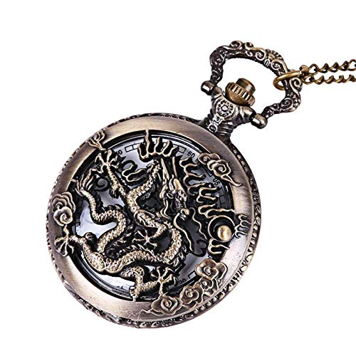 J-Love Reloj Bolsillo Retro, Reloj Bolsillo Cuarzo dragón Bronce Retro Vintage, Collar Cadena Colgante, Reloj Bolsillo Anime, Reloj Colgante