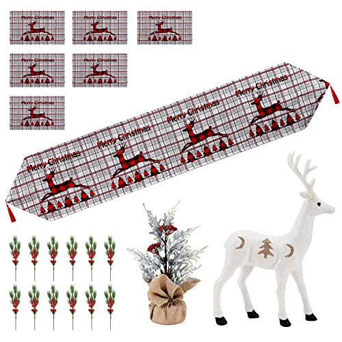A ANLEOLIFE Christmas Dining Table Decorations Bundle Set, Include Tapestry Table Runner and Placemats,Snow Reindeer & Pine Branches Xmas Tree with Berries Holiday Party (Xmas Dining Table Decor)